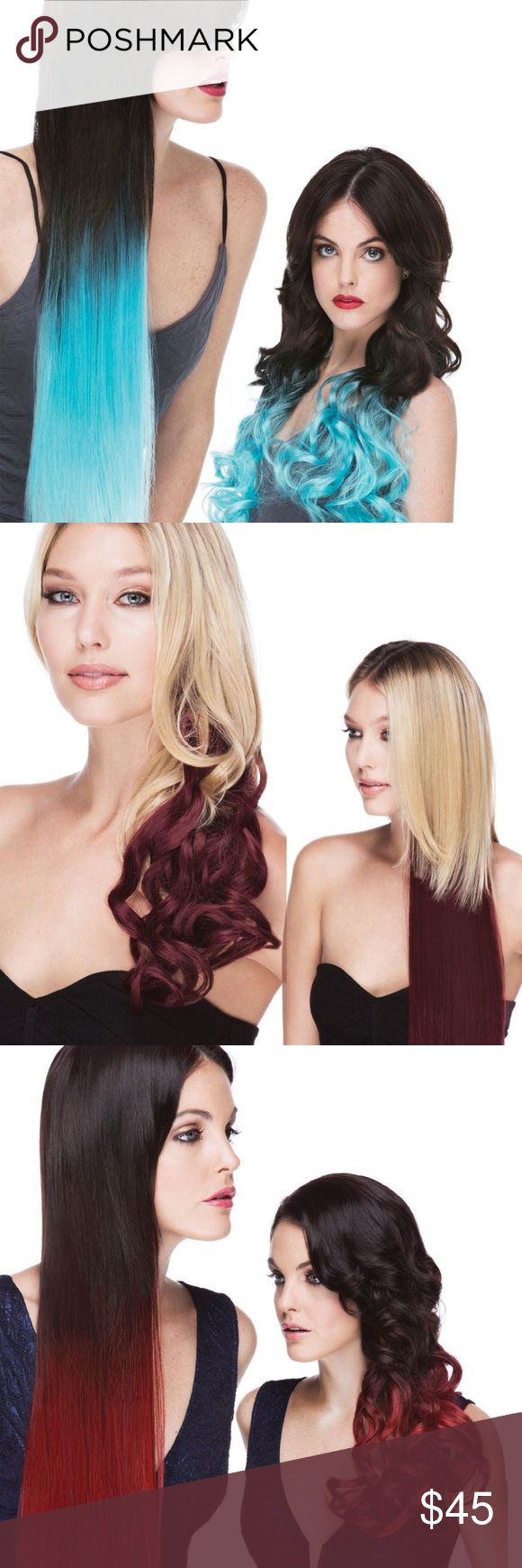 New Clip In Hair Extensions Ombre Party Colors Boutique Party