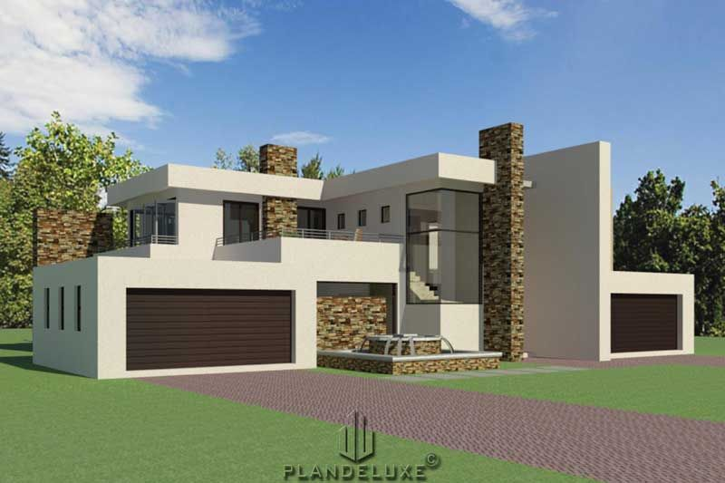 Double Story 4 Bedroom House Plan Modern House Plans Plandeluxe 4 Bedroom House Plans Bedroom House Plans Modern House Plans