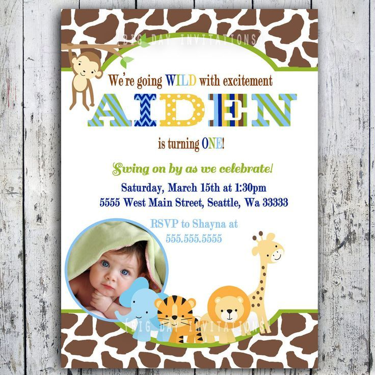 1st bday animal party theme | Safari BIrthday Invitations, Jungle ...
