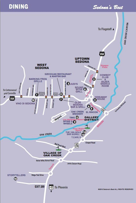 Sedona Restaurantap Of Where They All Are In The Town Easy To Map Out How Close Your Hotel