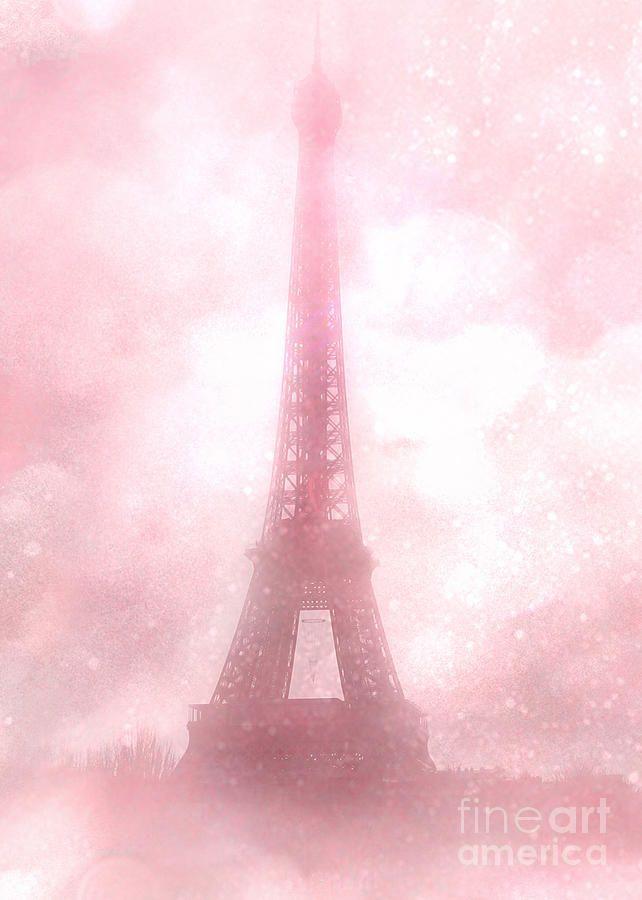 Paris Cottage Pink Dreamy Romantic Eiffel Tower Fantasy