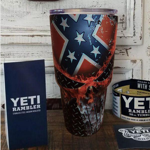 New Hydro Dipped Confederate Punisher Skull Yeti Rambler