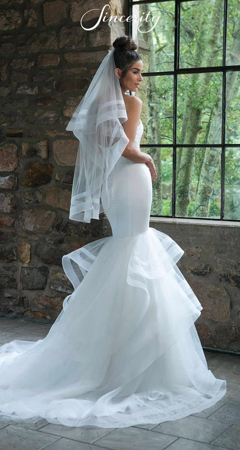 Style 44047 Sweetheart Satin And Layered Tulle Mermaid Wedding Dress Wedding Dresses Satin Mermaid Wedding Dress Bridal Dresses