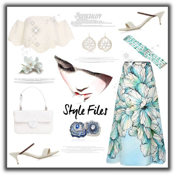 Style files-Floral skirt by zabead on Polyvore featuring Torn by Ronny Kobo, Marina Rinaldi, Rosie Assoulin, Rochas, VanLeles, Annette Ferdinandsen, Chio, chic, Floralskirts and polyvorecontest