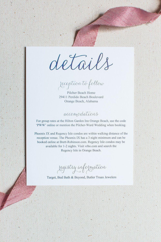 wedding invitation insert card guest details on navy