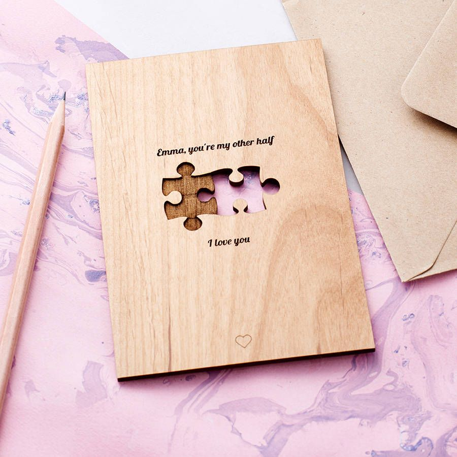 jigsaw 'my other half' card  anniversary cards for
