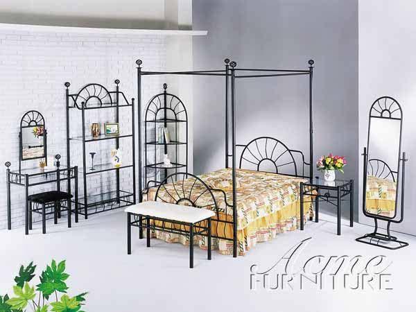 Sunburst Black Metal Glass Canopy Bedroom Set