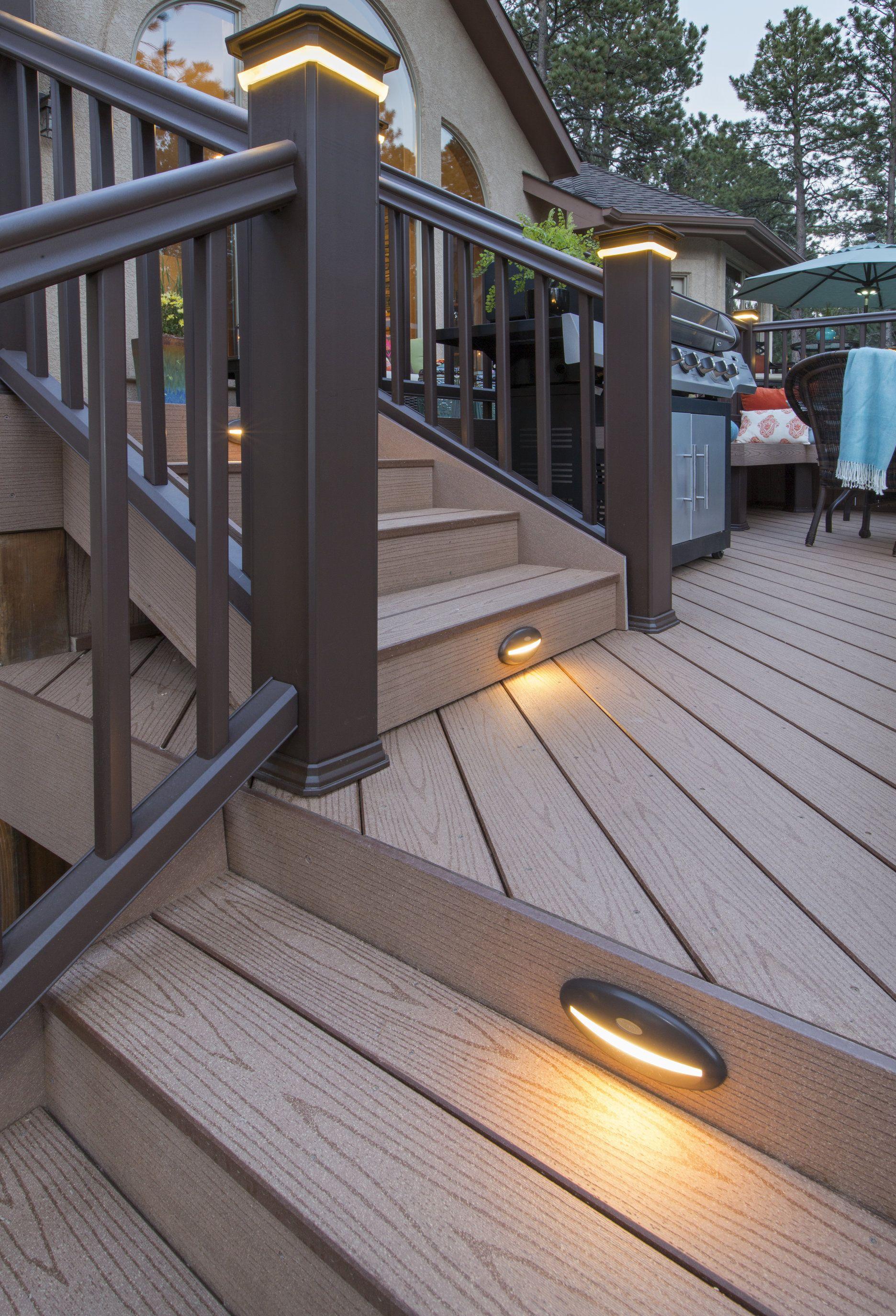 Lighting Products For Decks Porches Railings Timbertech Patio Deck Designs Building A Deck Deck Lighting