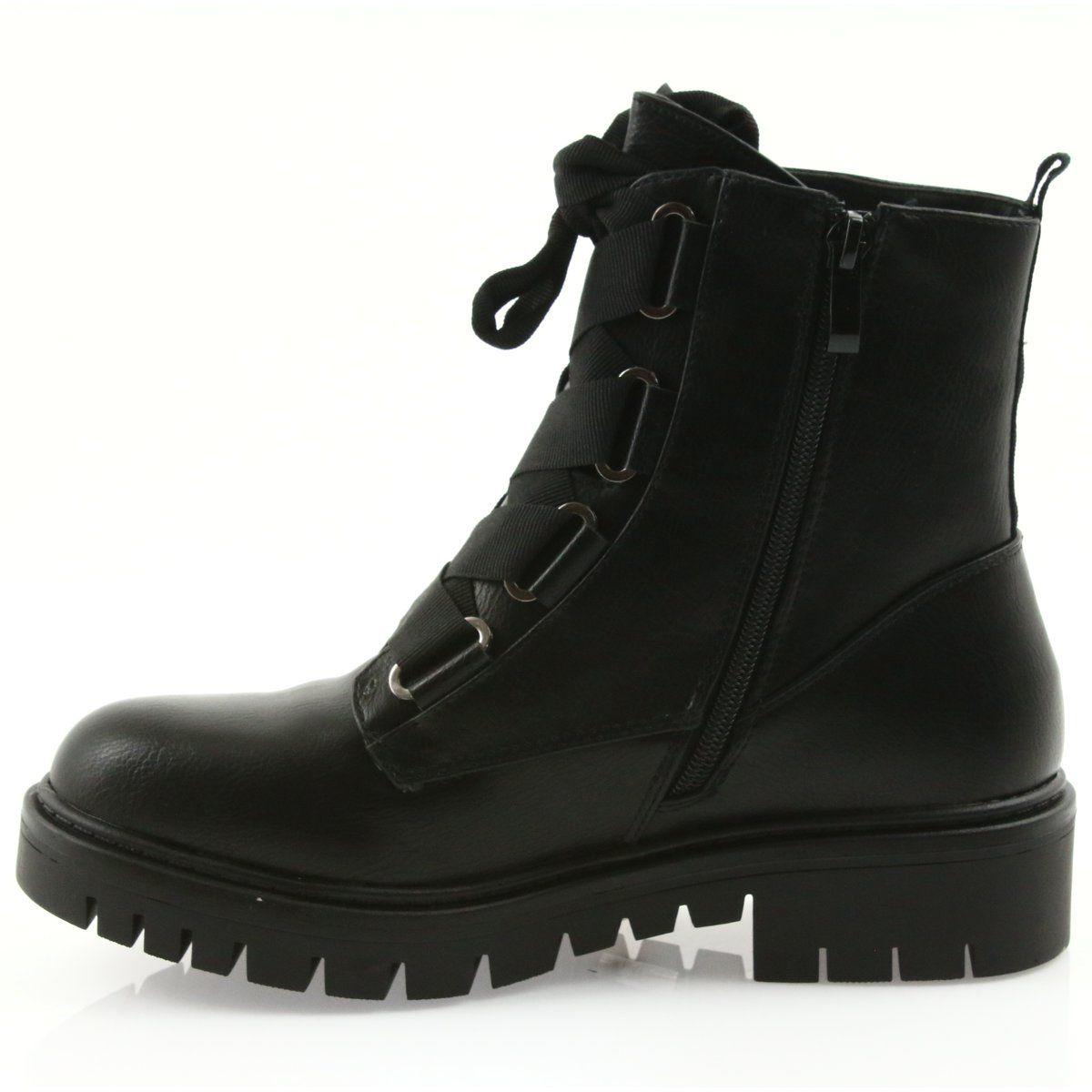 Workery Czarne Wiazane Daszynski Mr1809 Boot Shoes Women Boots Women Shoes