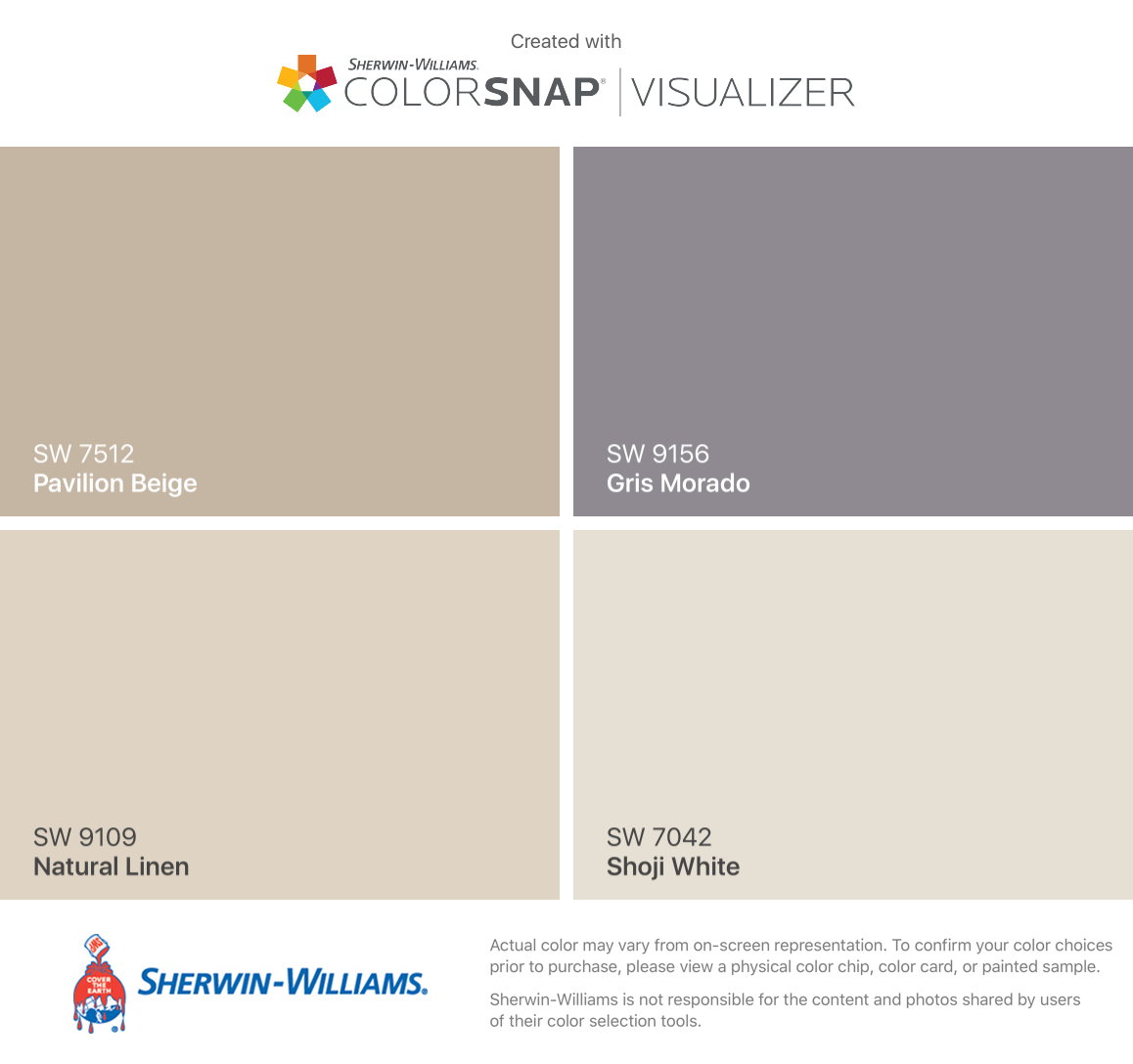 I Found These Colors With ColorSnap® Visualizer For IPhone By Sherwin Williams:  Pavilion Beige (SW 7512), Natural Linen (SW 9109), Gris Morado (SW 9156),  ...