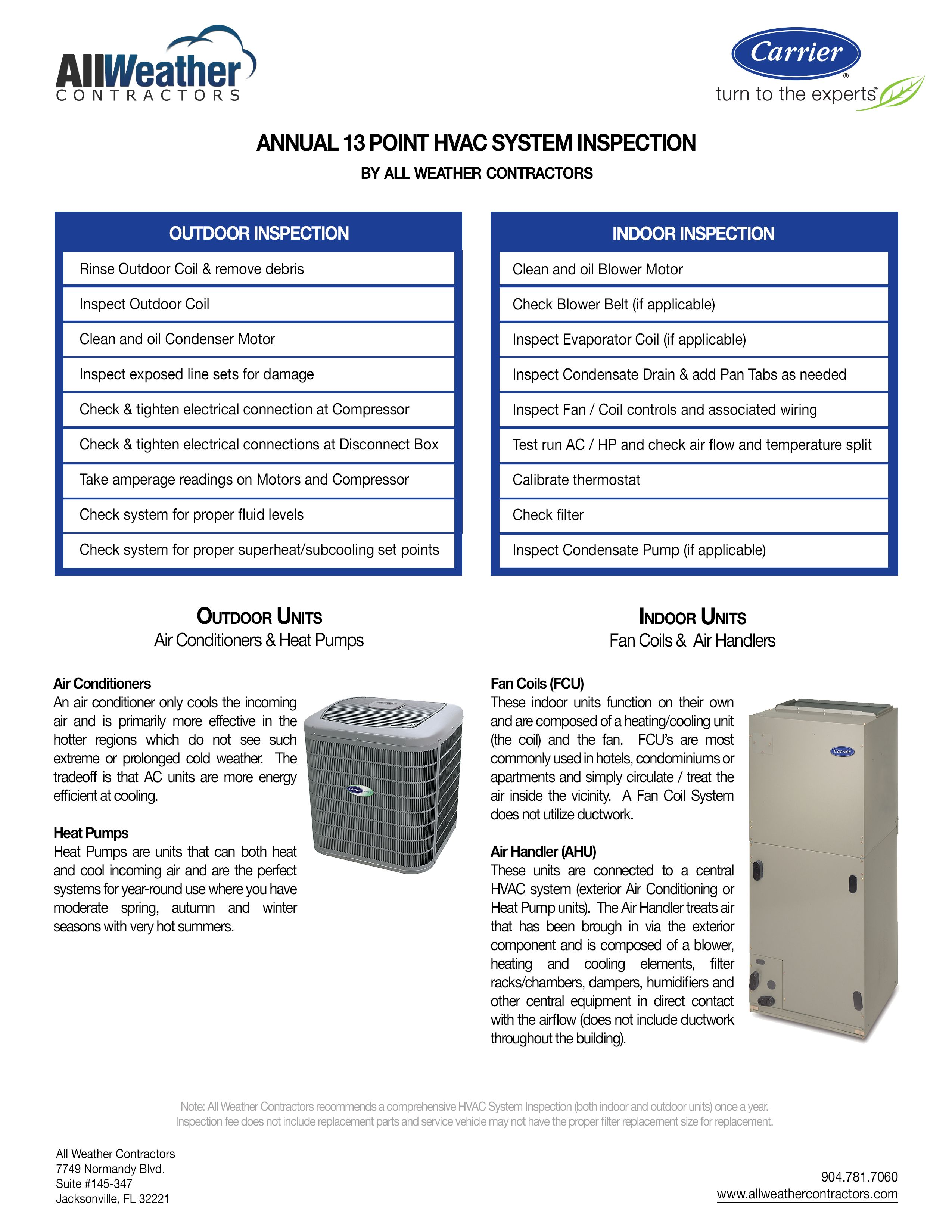 13 point hvac system inspection which comes with each and every