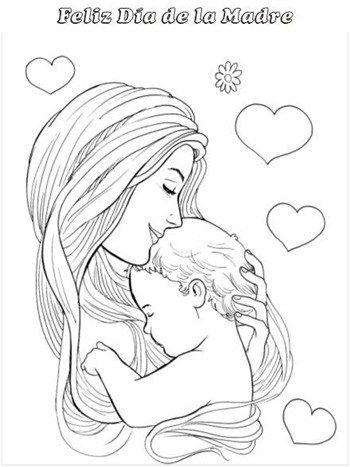 Dibujo De Madre Y Bebe Dibujos Del Dia De Las Madres Madre Arte Madre Y Bebe