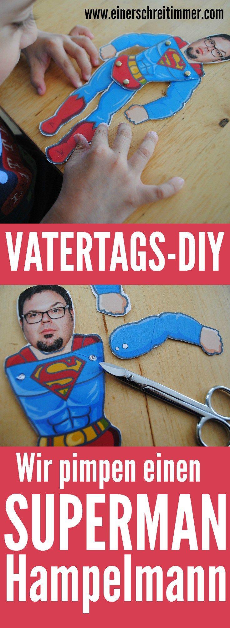 DIY für den Vatertag: Superman-Hampelmann #spinnennetzbasteln