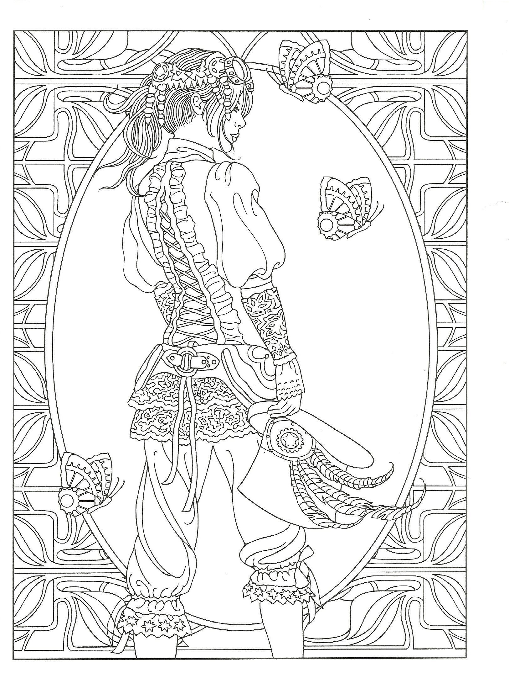 steampunk girl coloring pages - photo#15