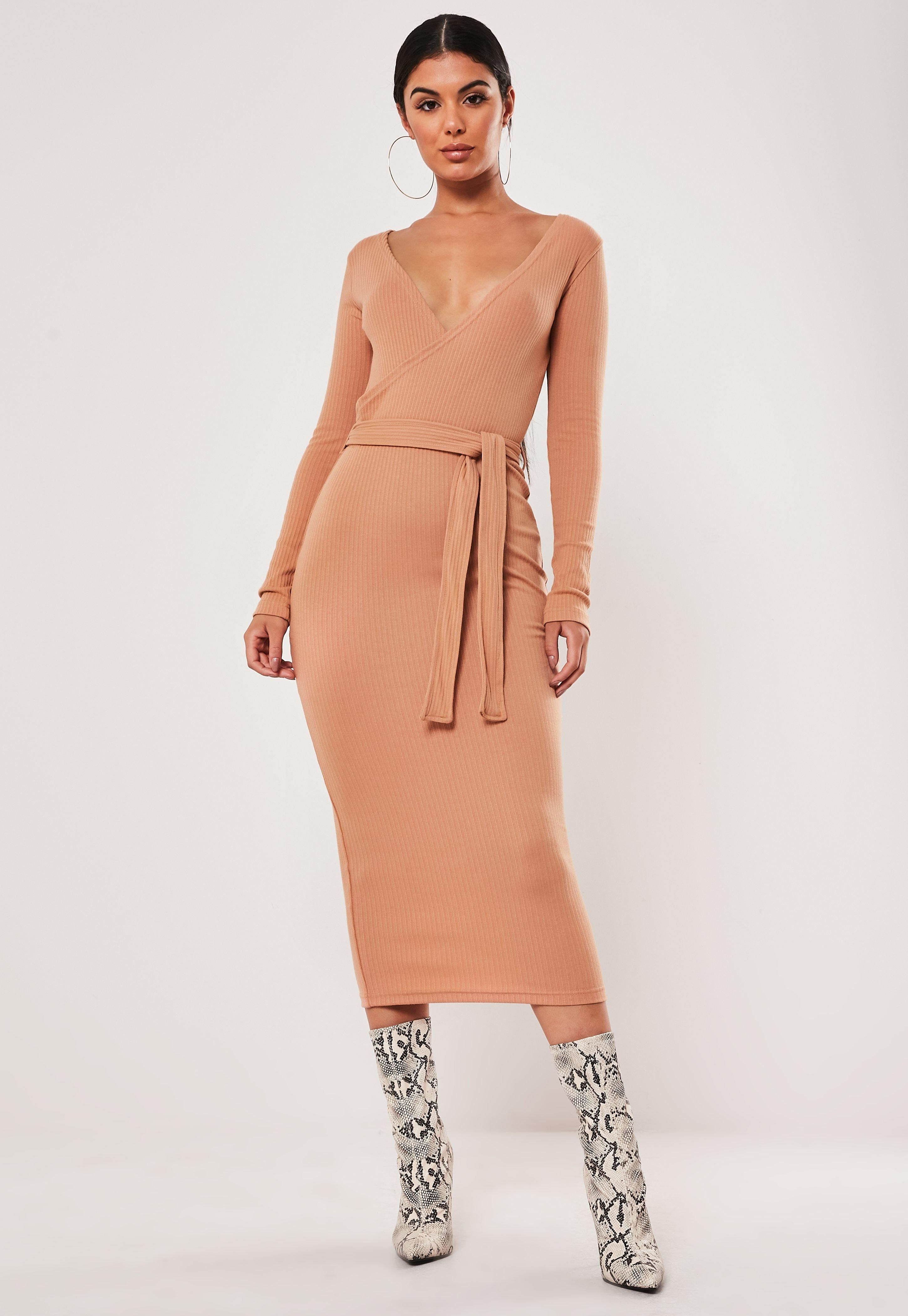 Tan Ribbed Wrap Front Tie Belt Midi Dress Sponsored Wrap Sponsored Front Tan In 2020 Belted Midi Dress Prom Dresses With Sleeves Trending Dresses [ 4200 x 2900 Pixel ]