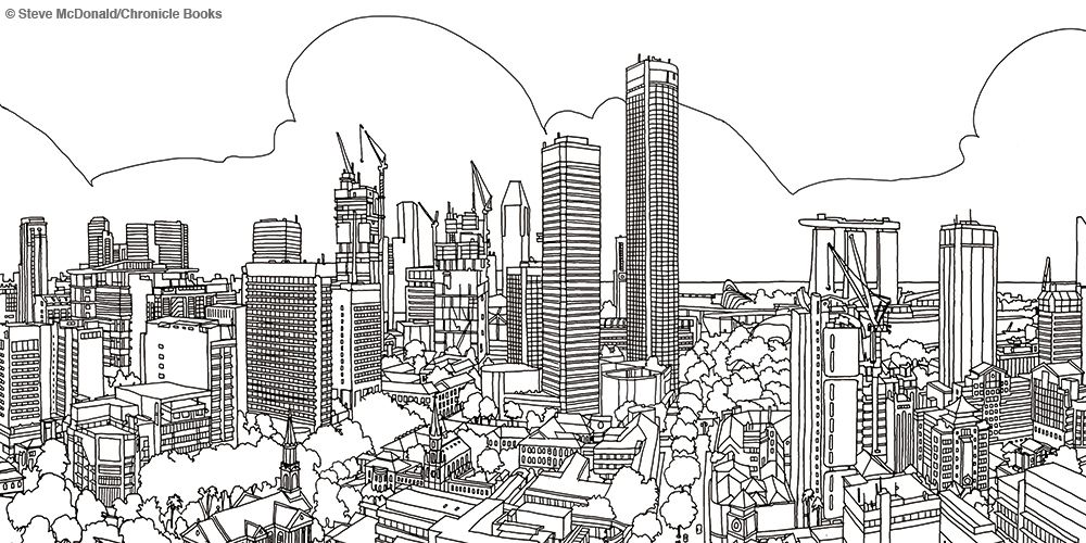 Adult Colouring Books Fantastic Cities By Steve McDonald Chronicle