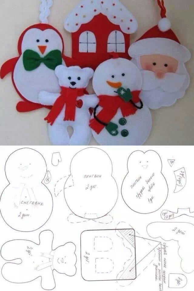 Decorazioni Natalizie In Feltro Pinterest.Fai Da Te Natale Christmas Cartamodelli Feltro Pinterest