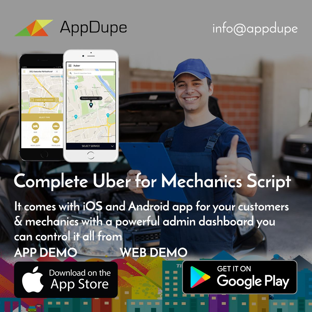 Develop Uber for Mechanics clone app from Appdupe and help