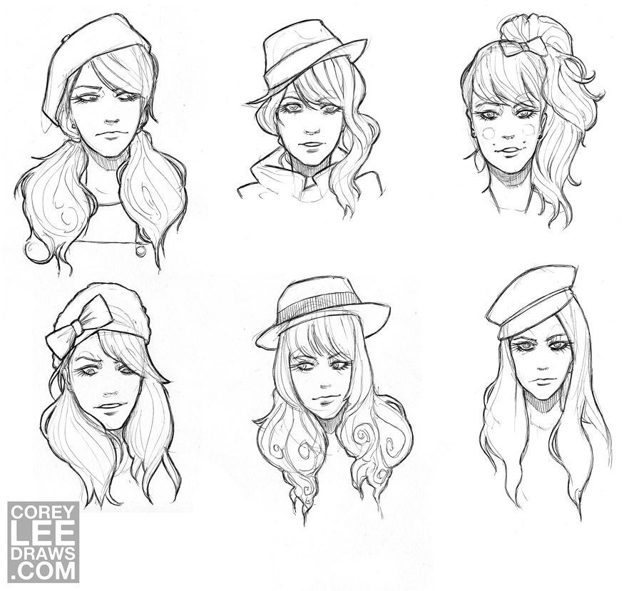 sketching hair with hats sketches