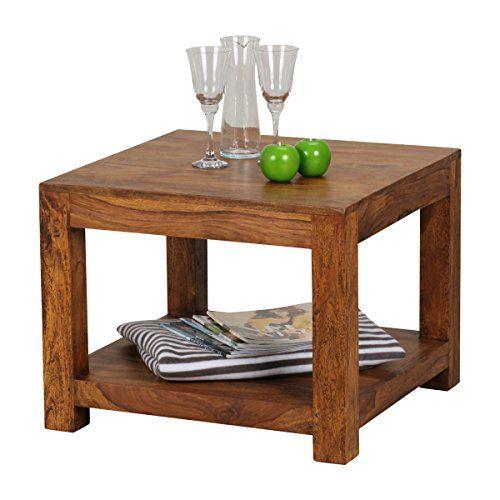 WOHNLING Couchtisch Massiv Holz Sheesham 60 X 60 Cm Wohnzimmer Tisch Design  Dunkel