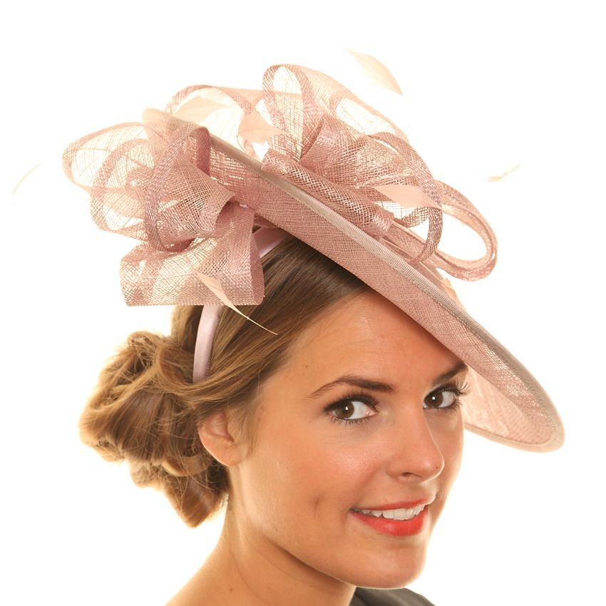 Wedding Fascinator Hat - Light Pink Tilted Disc Sinamay ... 62f693008c6