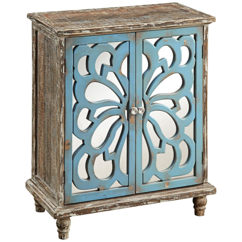 Delvale 31 1 2 High Distressed Blue 2 Door Accent Chest 1f873
