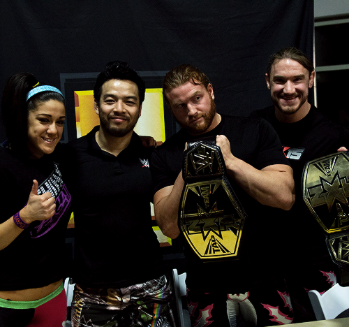 Bayley Hideo Itami And The Nxt Tag Team Champions Buddy Murphy And Wesley Blake At A Nxt Live Event Signing Royal Rumble Pro Wrestling Wwe Figures