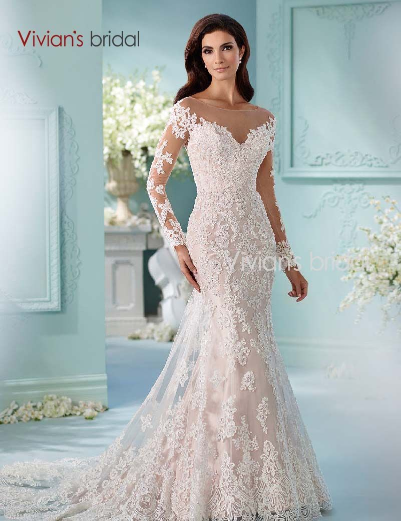 Vivians Bridal Beaded Sequin Mermaid Wedding Dress Long Sleeve Lace ...