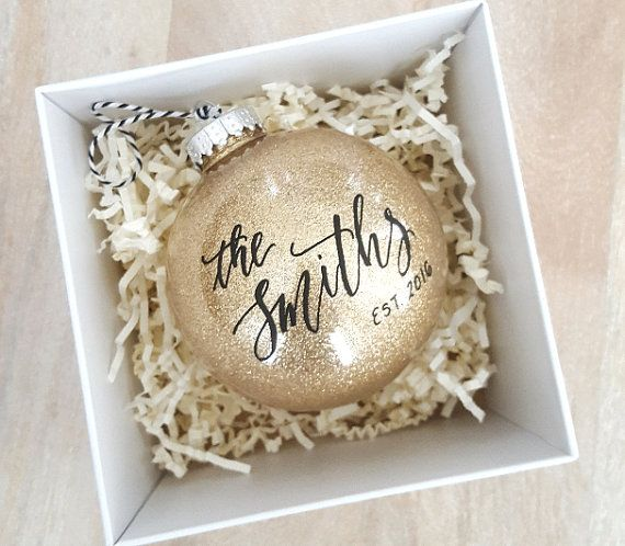 personalized established newlywed christmas ornament gift with calligraphy one gold