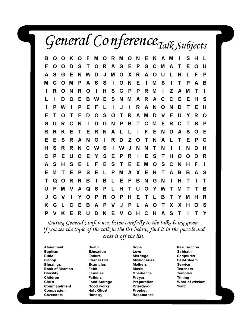 General Conference Packet For Older Elementary Aged Children