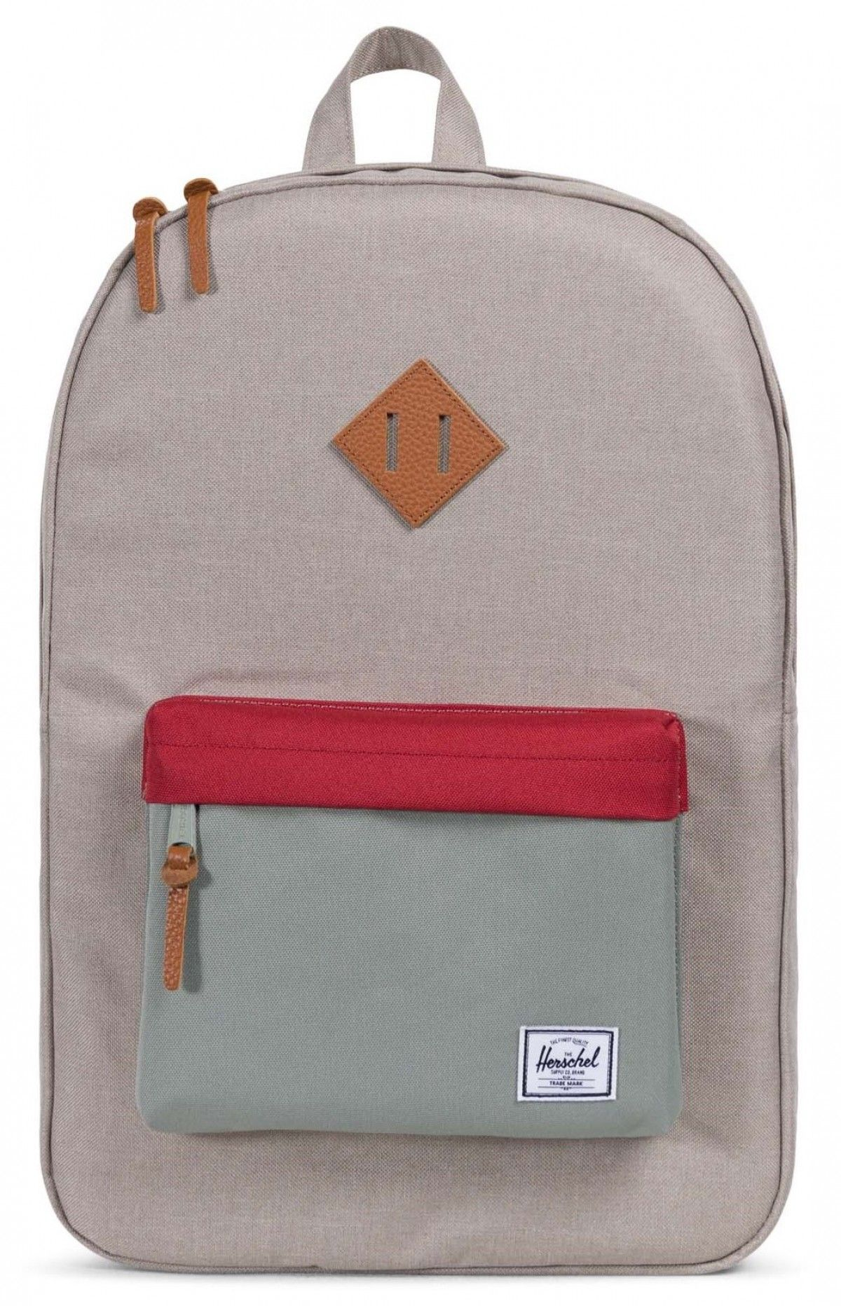 Herschel Heritage Backpack 600D Poly Light Khaki Crosshatch Shadow Brick Red  Tan b78e54882da76