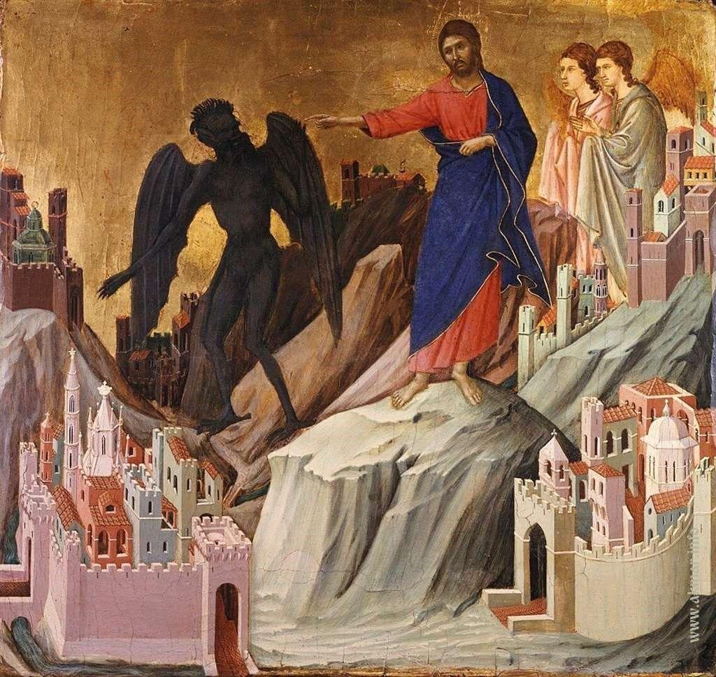 Дуччо ди Буонинсенья. Искушение на горе. 1308—1311. Коллекция Фрика. Нью-Йорк. США