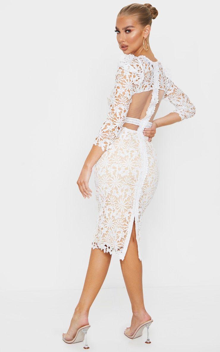 White Lace Open Back Long Sleeve Midi Dress Long Sleeve Midi Dress Long Sleeve Midi Midi Dress [ 1180 x 740 Pixel ]
