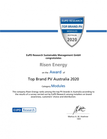 Once Again Risen Energy Is Awarded 2020 Top Pv Brand In