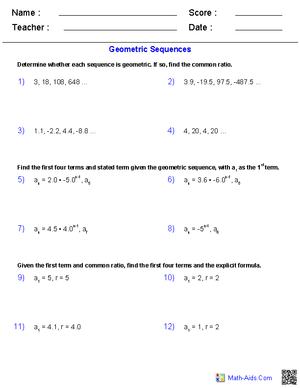 Geometric Sequences Worksheets  Arithmetic