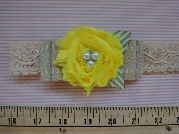 lemonade stand headband, yellow shabby flower headband, newborn/baby/toddler/girl/adult headband PICK YOUR SIZE