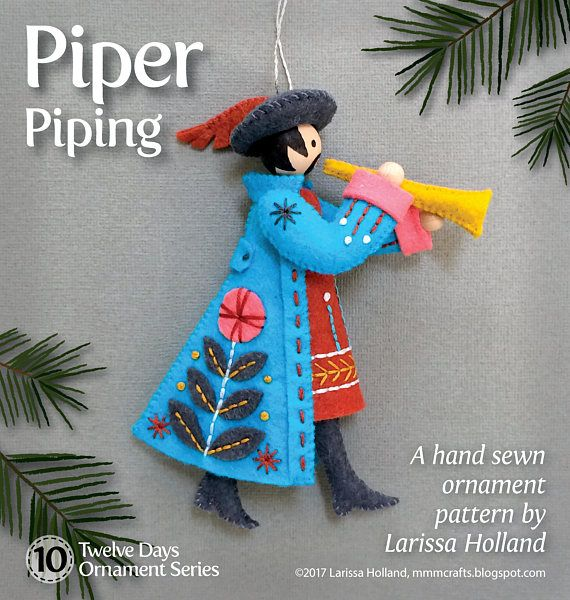 a0fb34522295 Piper Piping PDF pattern for a hand sewn wool felt ornament ...