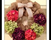 Chevron Burlap Wreath - Hydrangea Burlap Wreath - Spring Wreath  - Summer Wreath - Large Wreath  - Flower Wreath - Wedding Gift