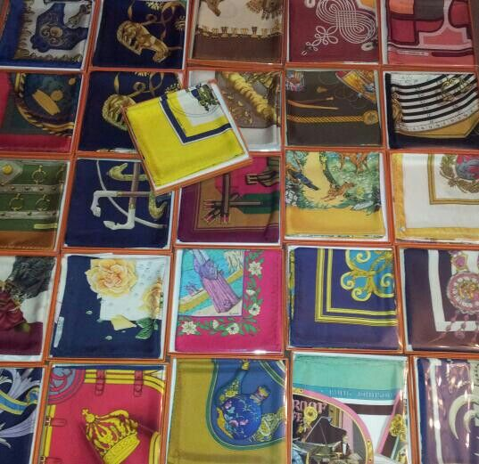 hermes silk scarves and boxes...