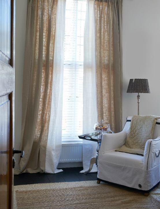 linnen gordijnen combi beige wit