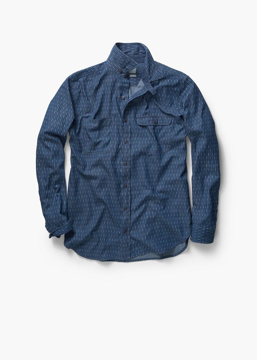 Regular-fit printed chambray shirt | MANGO MAN