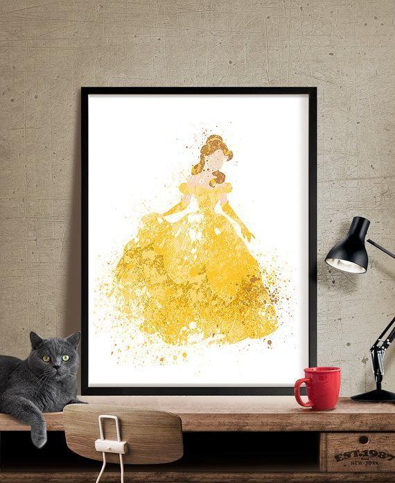 Disney Princess,Belle Beauty and the Beast,Wall Art, Disney Art ...