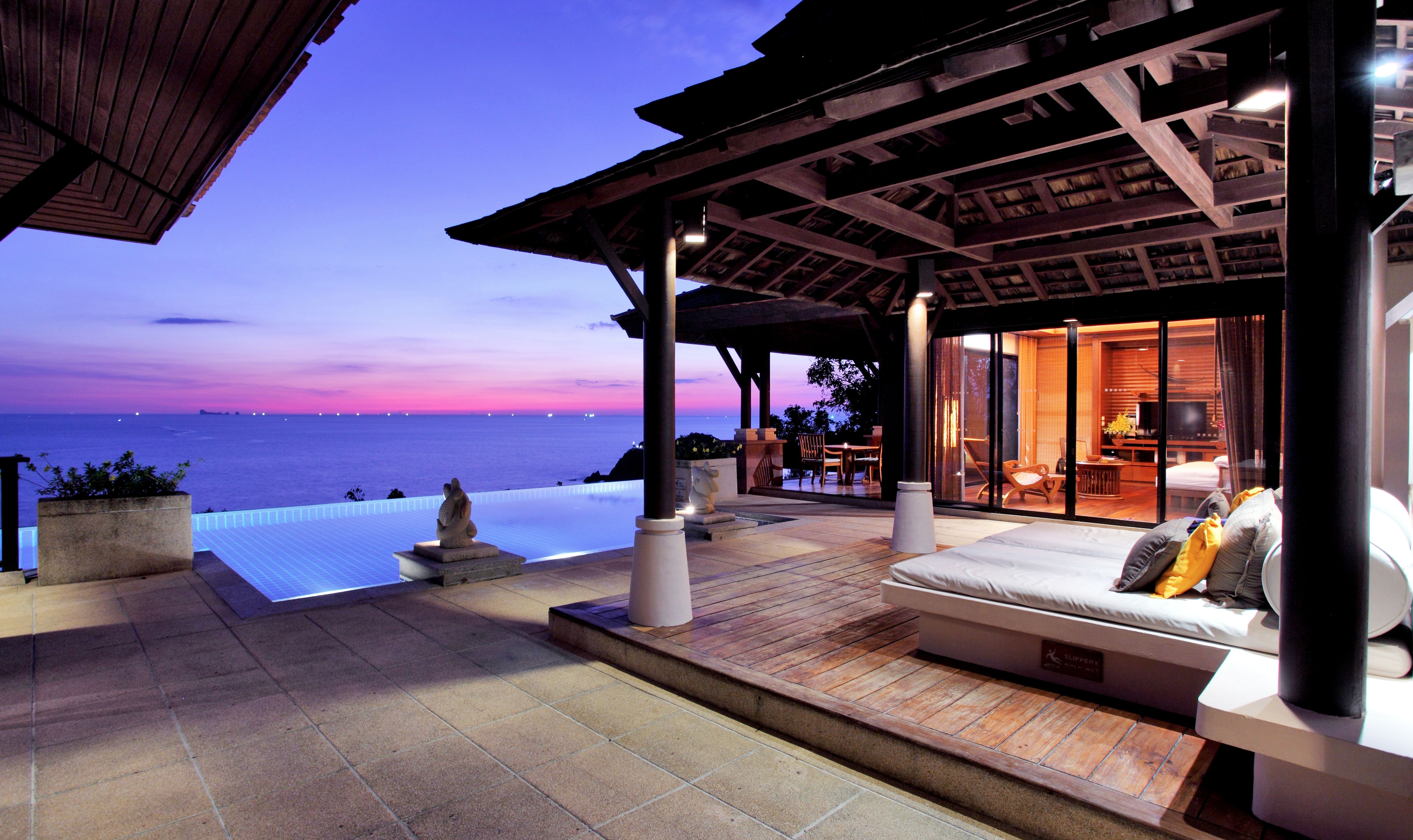 Purple sunset at Pimalai, green beach resort Thailand