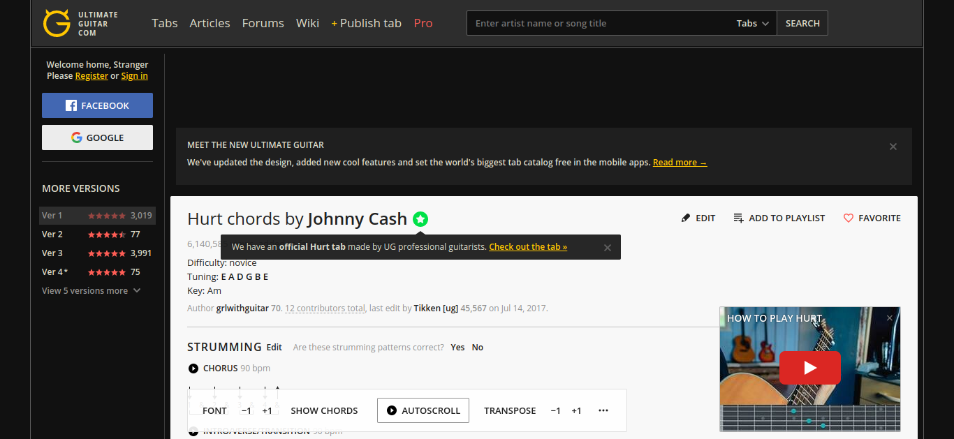 Hurt Chords By Johnny Cash Ultimate Guitar Guitar