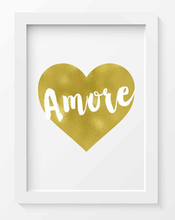 Gold Foil Amore Heart Print, Amore print, Wall art, Home decor ...