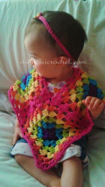 Oui Crochet: Granny Square Poncho: Size 12-18 months {Free Crochet ...