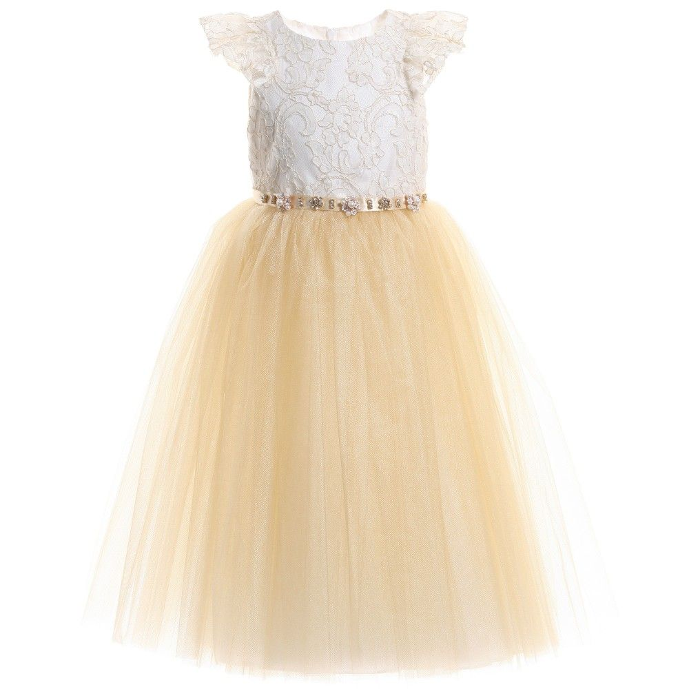 Younger girls beautiful gold and ivory sleeveless dress by david