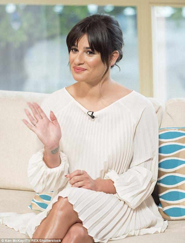 Full of Glee: Lea Michele appeared on This Morning on Monday to talk about her latest musical offering, Places - she looked incredible in a white pleated mini dress