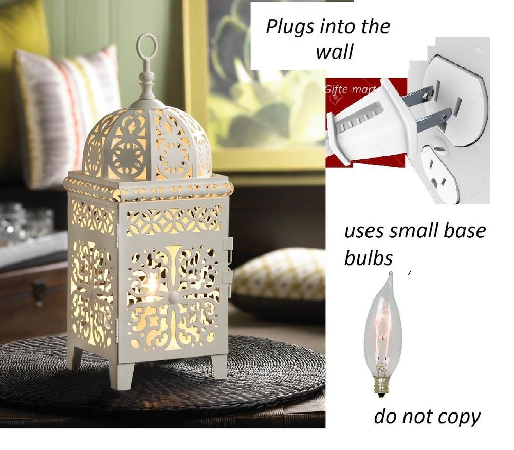 Plug In Shabby White Moroccan Electric Lantern Bedside Table Lamp Night Light Electric Lanterns Bedside Table Lamps Night Light