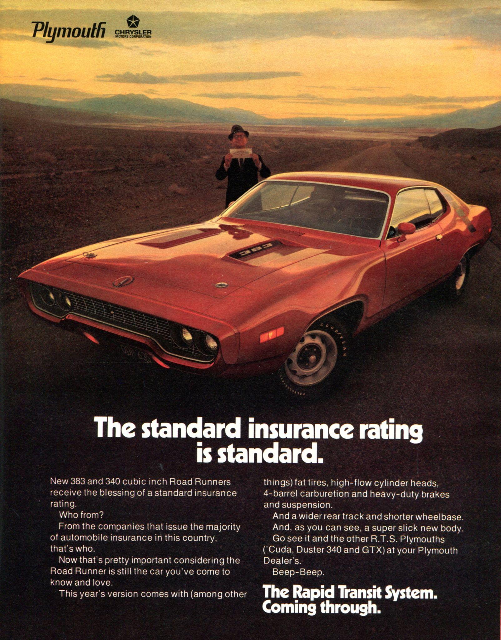 1971 Chrysler Plymouth Road Runner Advertising Hot Rod Magazine